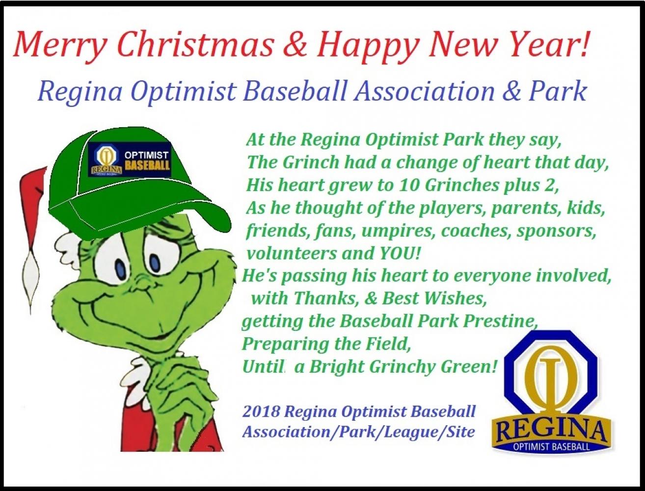 Merry Christmas & Happy New Year from The Regina Optimist Baseball Association!!!