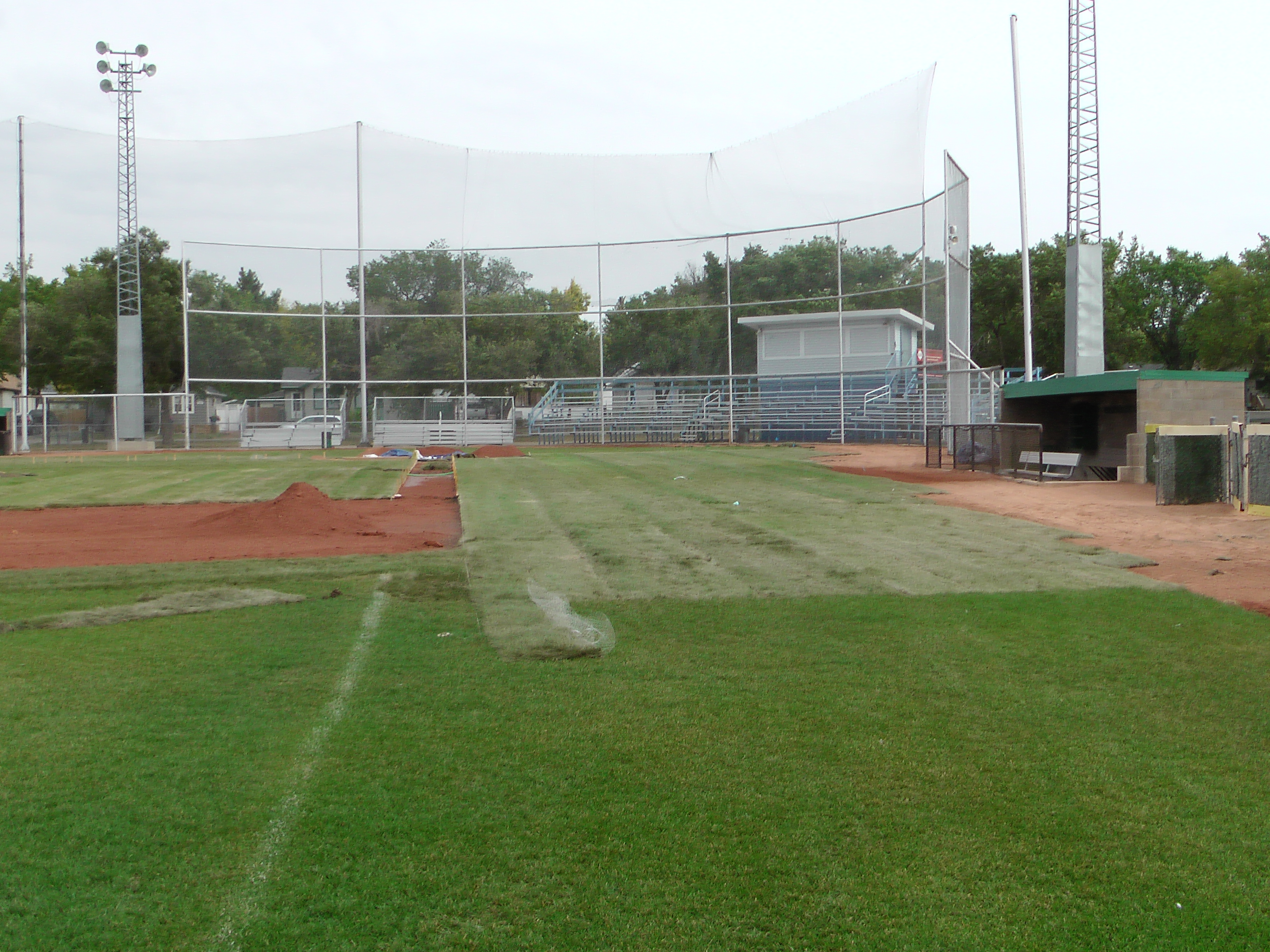 Sept 7 & 8 2018, Optimist Park Field Renovations, sod down being watered - Image 10