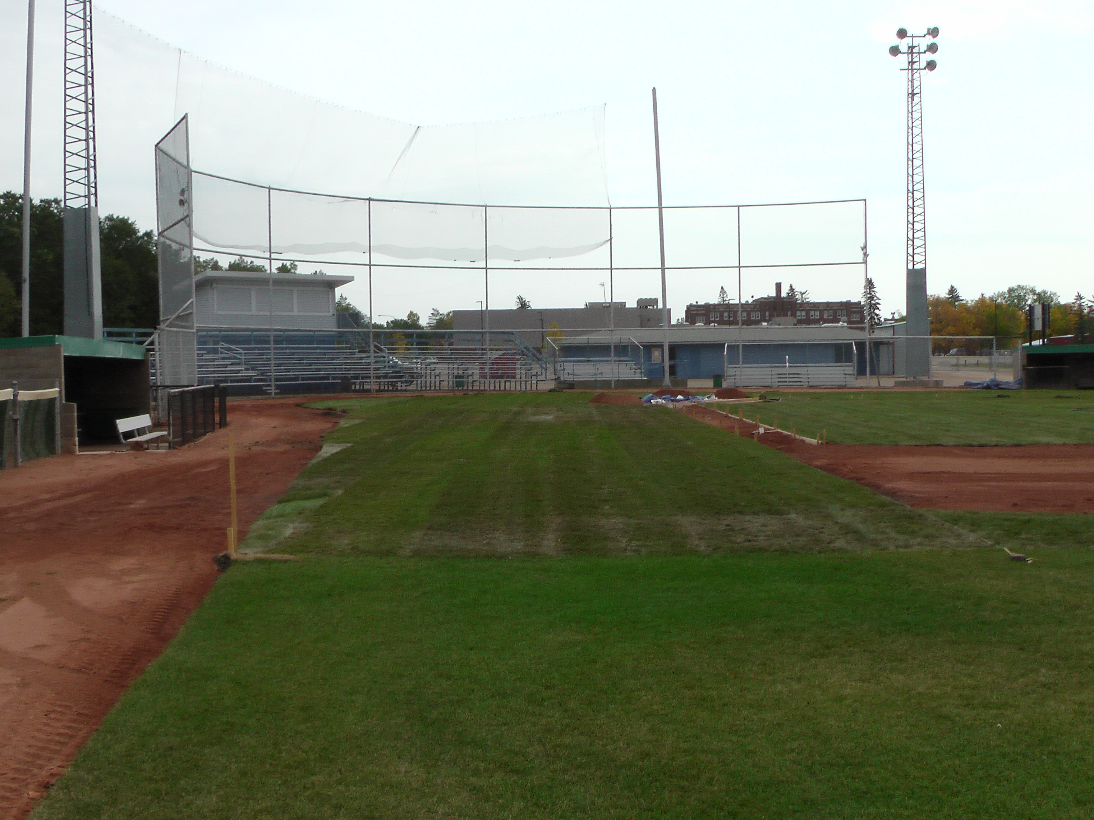Sept 7 & 8 2018, Optimist Park Field Renovations, sod down being watered - Image 13