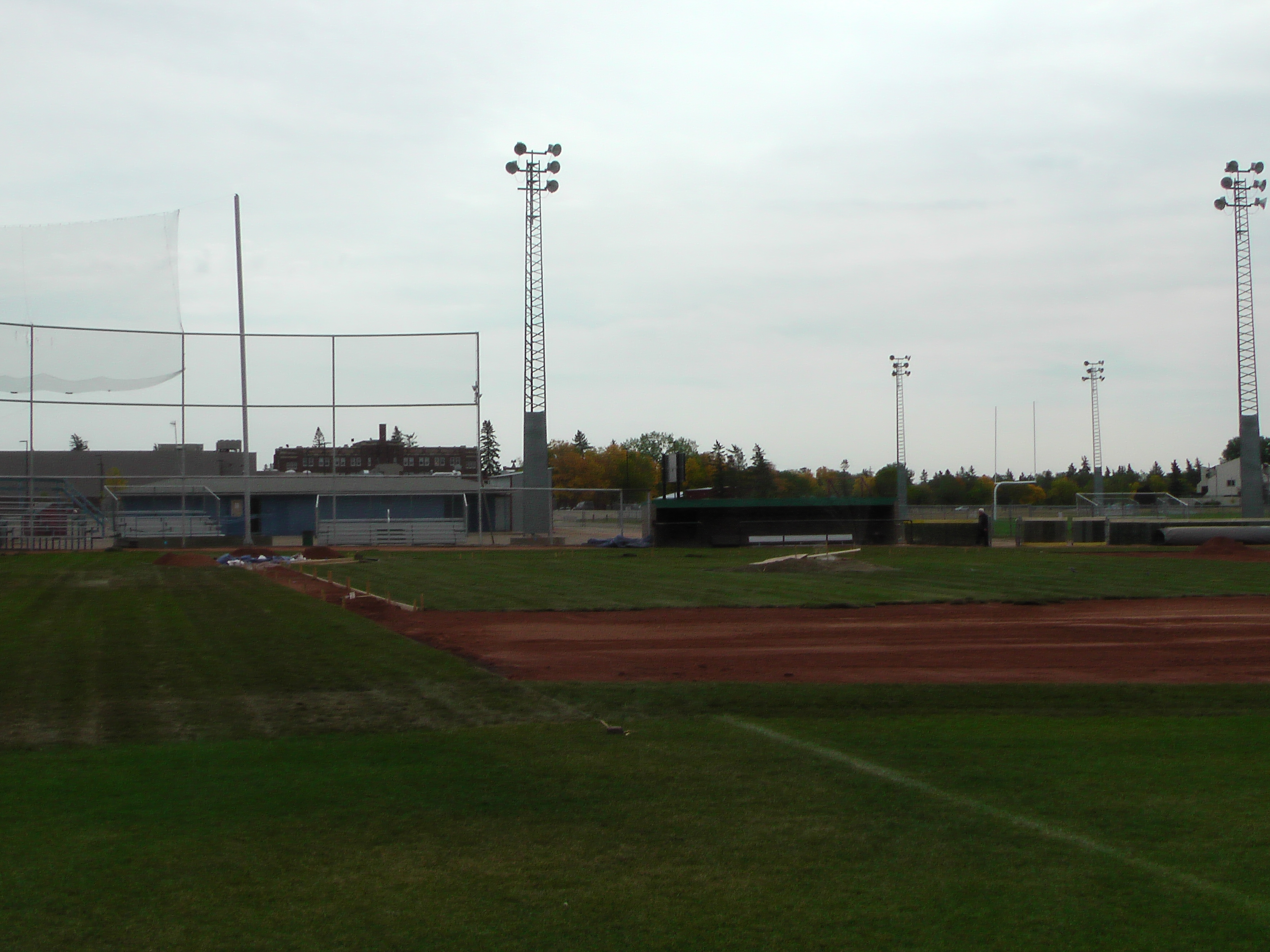 Sept 7 & 8 2018, Optimist Park Field Renovations, sod down being watered - Image 14
