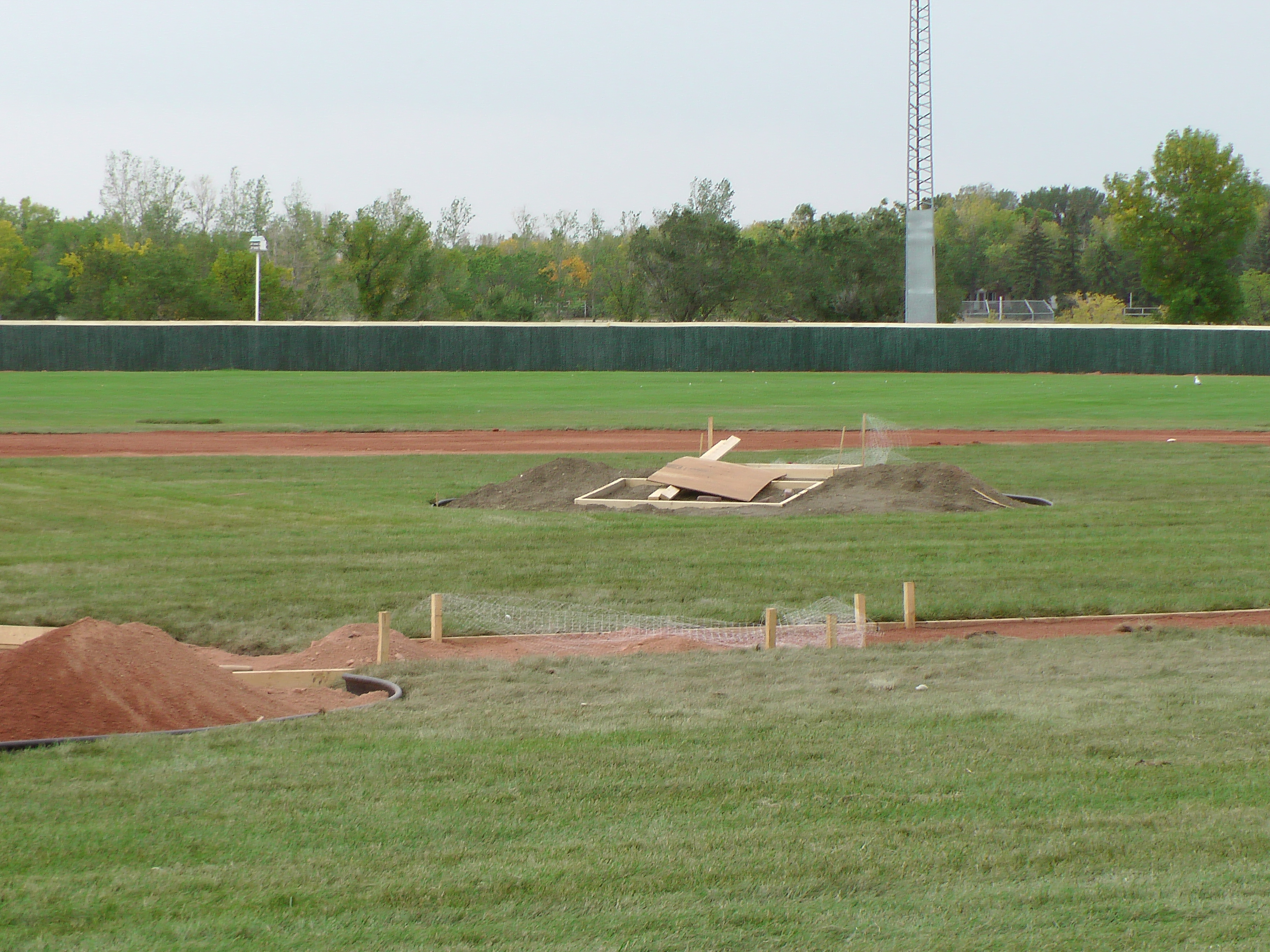 Sept 7 & 8 2018, Optimist Park Field Renovations, sod down being watered - Image 17