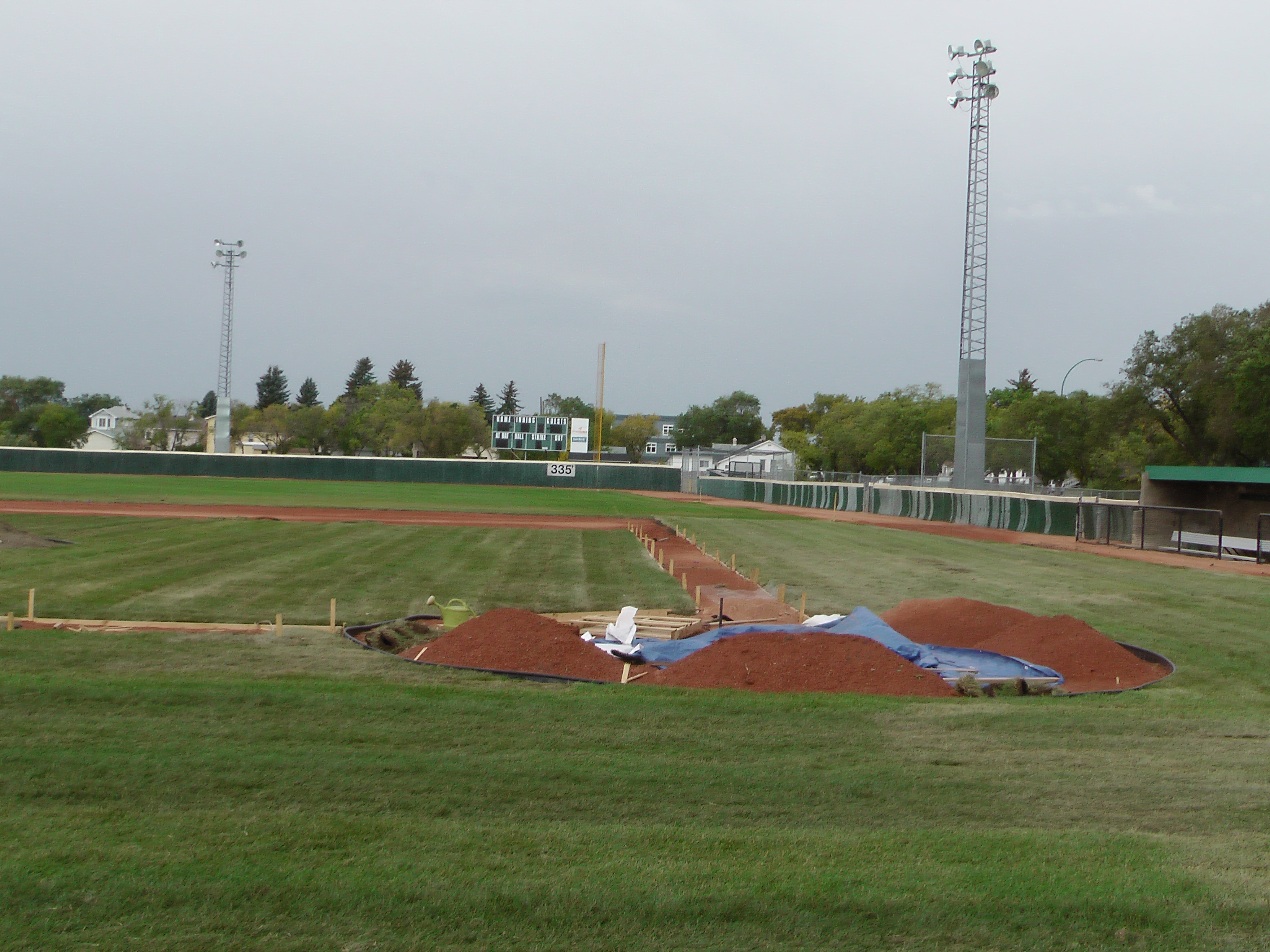 Sept 7 & 8 2018, Optimist Park Field Renovations, sod down being watered - Image 22
