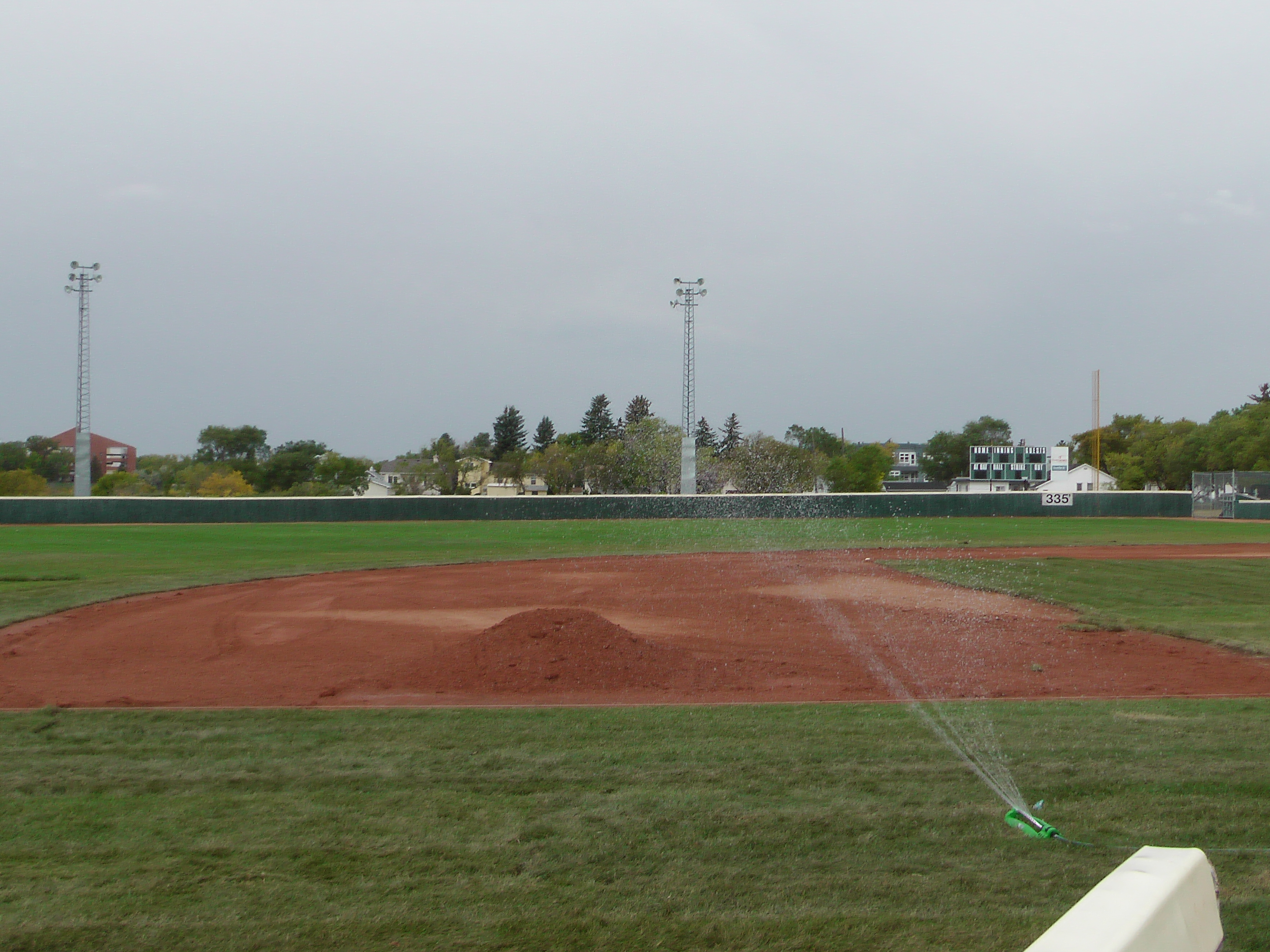 Sept 7 & 8 2018, Optimist Park Field Renovations, sod down being watered - Image 25