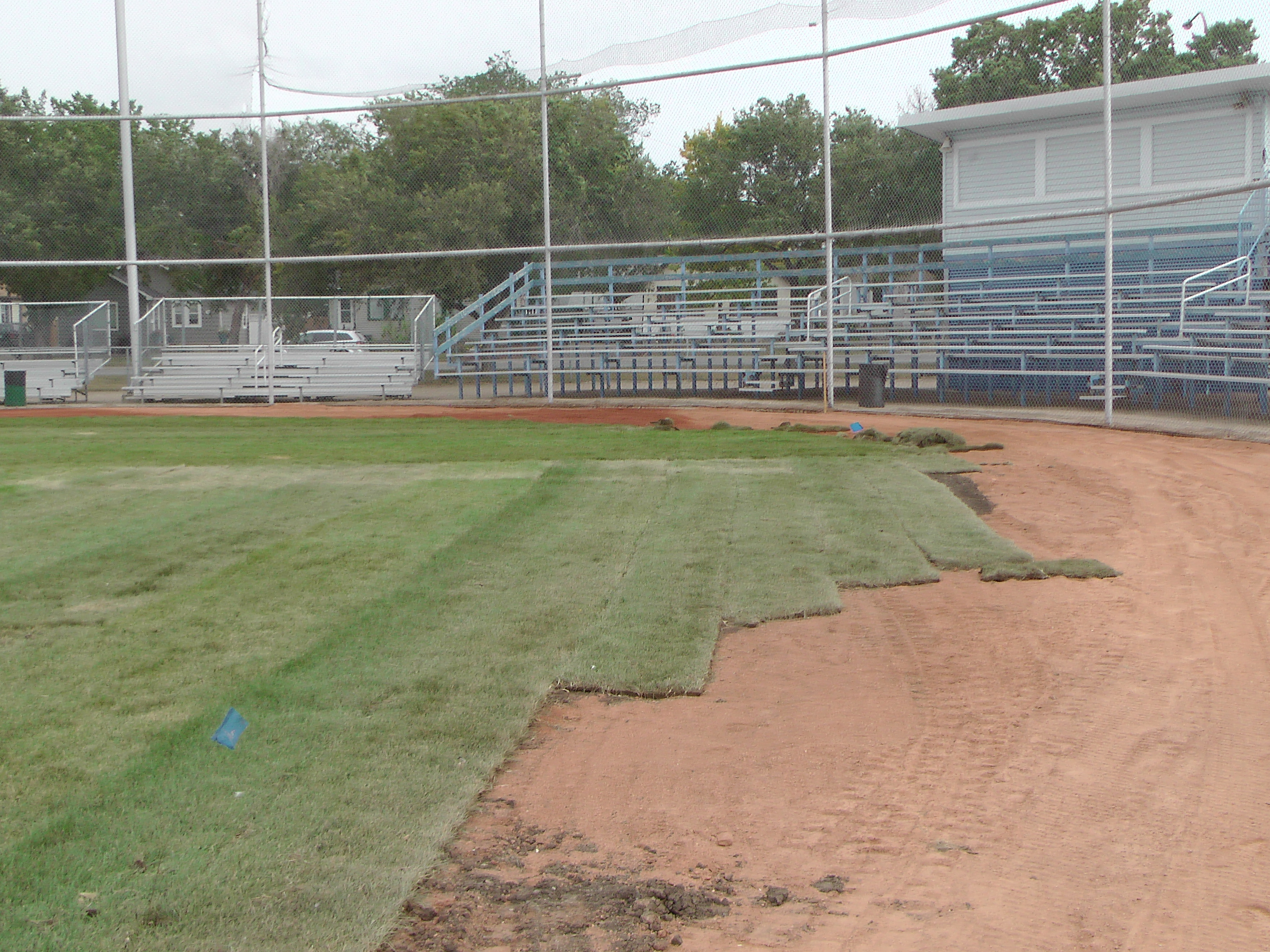 Sept 7 & 8 2018, Optimist Park Field Renovations, sod down being watered - Image 26