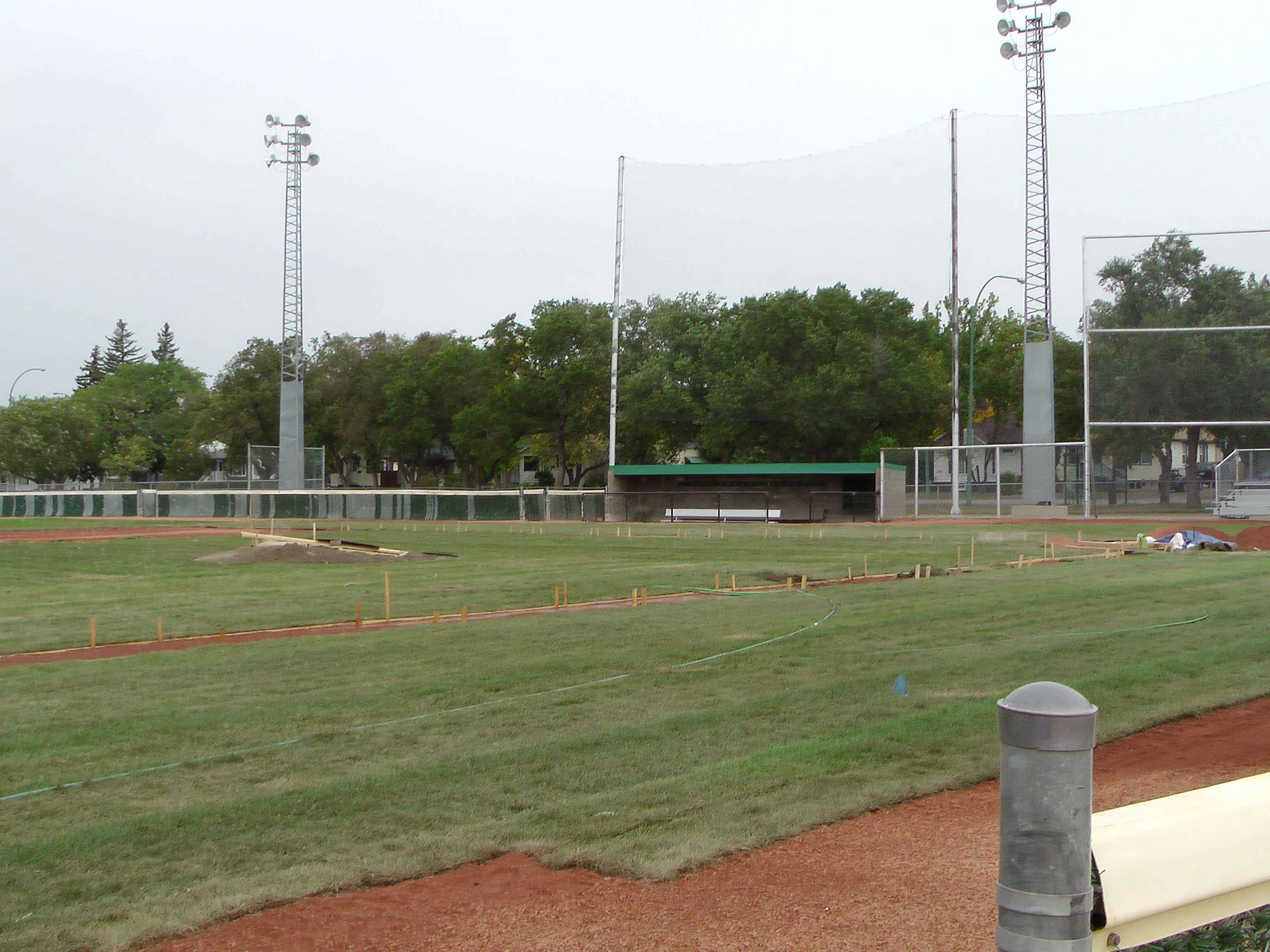 Sept 7 & 8 2018, Optimist Park Field Renovations, sod down being watered - Image 27