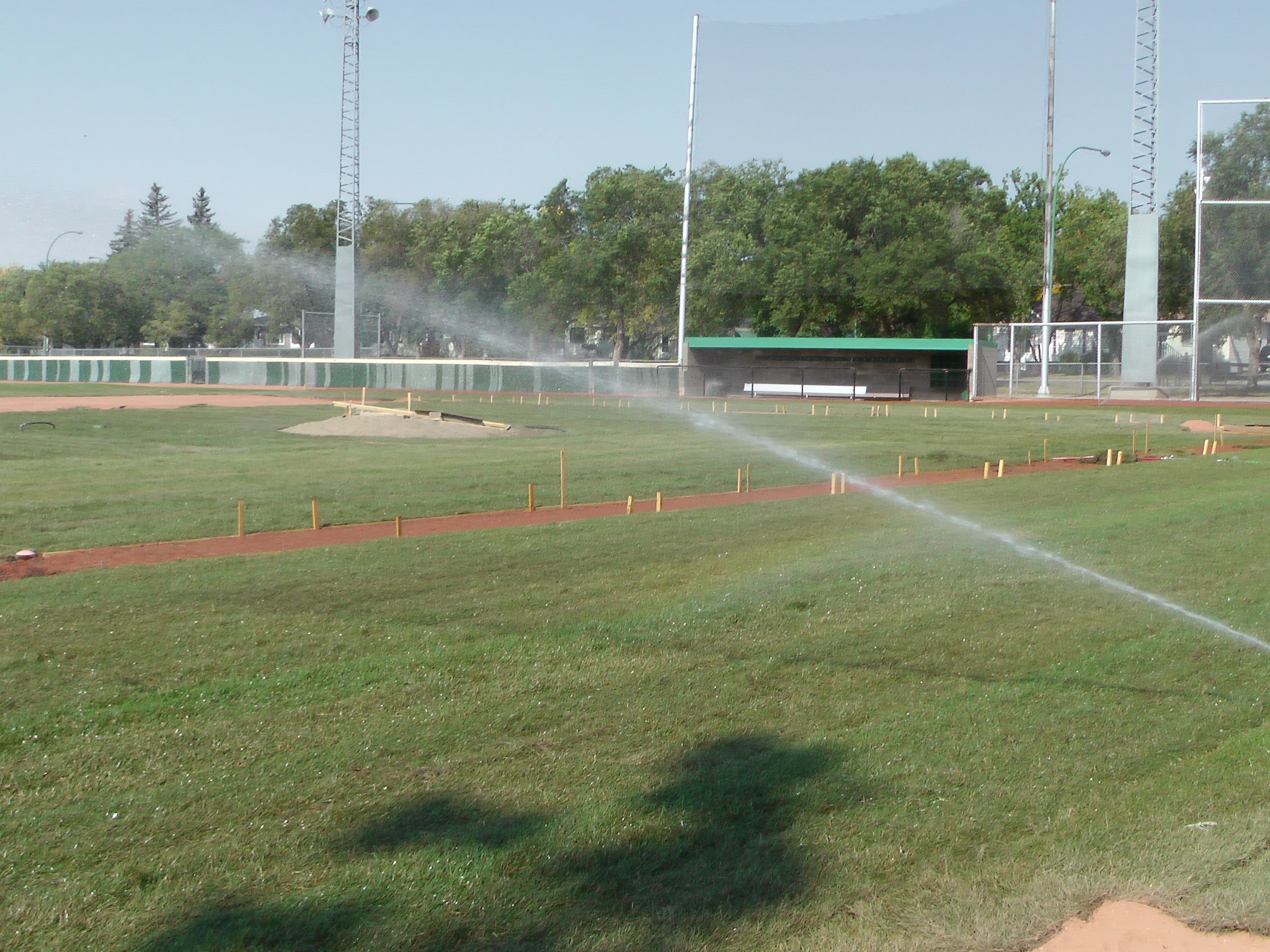 Sept 7 & 8 2018, Optimist Park Field Renovations, sod down being watered - Image 5