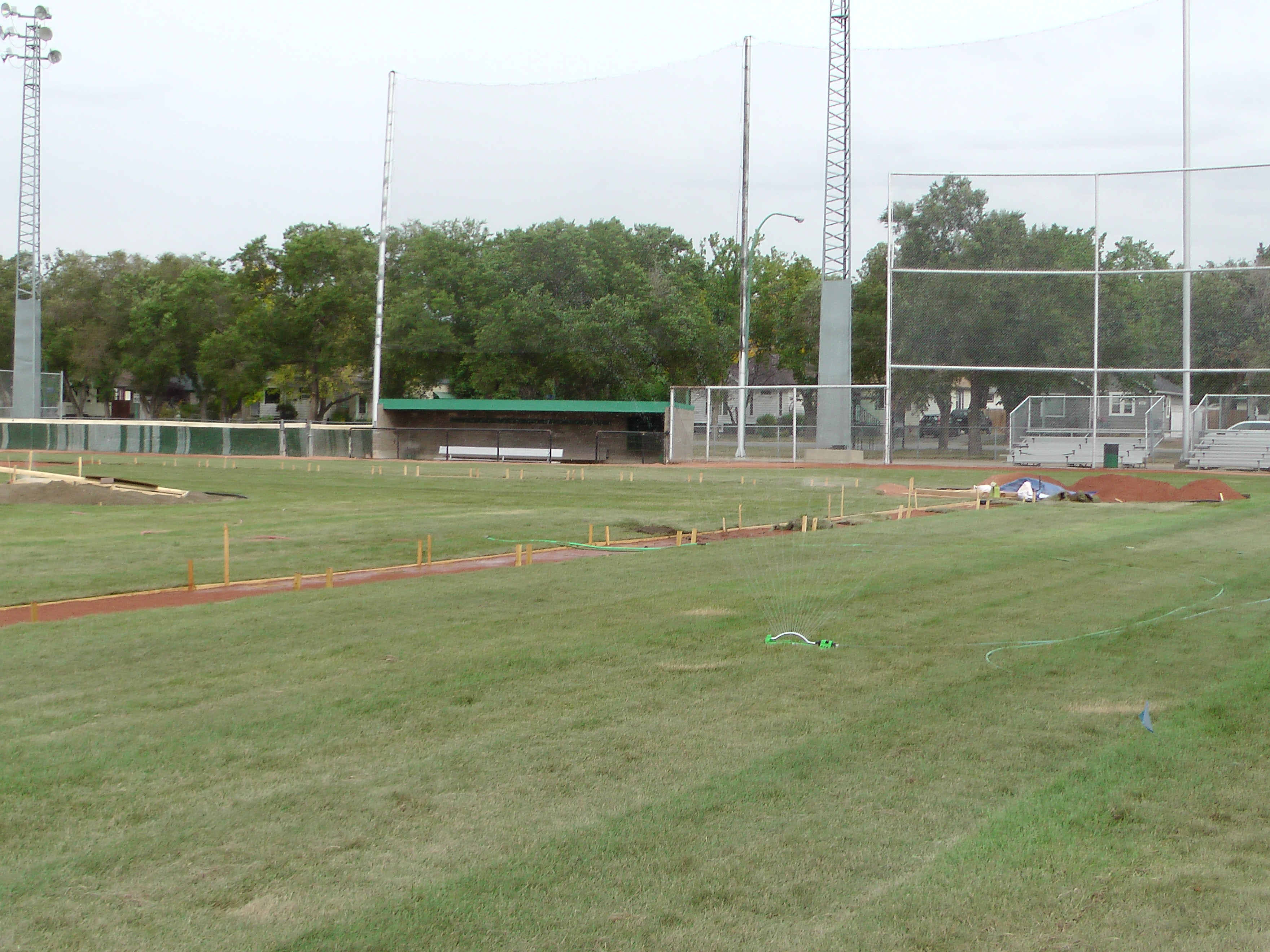 Sept 7 & 8 2018, Optimist Park Field Renovations, sod down being watered - Image 7