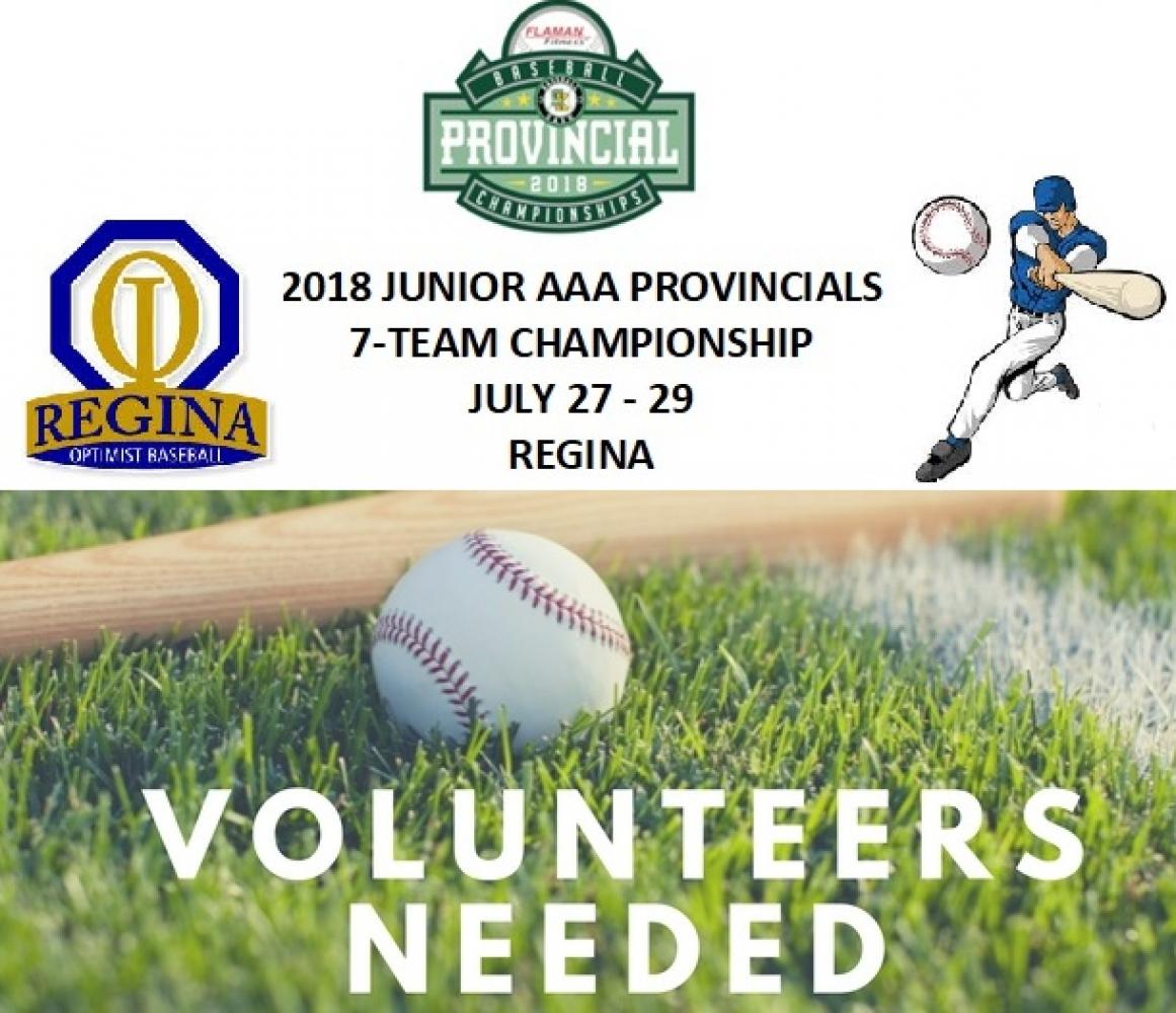 Volunteers Needed July 27/28/29 for Baseball Sask Junior Provincial Tournament In Regina!