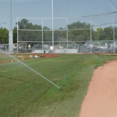Sept 7 & 8 2018, Optimist Park Field Renovations, sod down being watered