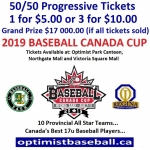 50/50 Progressive Tickets Available for Purchase for 2019 Baseball Canada Cup. Grand Prize $17 000.00 if all tickets sold.